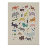 Poster de madera del animal del grano del alfabeto