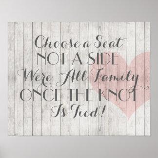 Poster de madera rústico del asiento del boda del