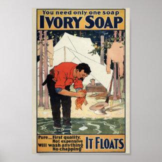 Poster de marfil del vintage del jabón