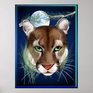 Poster de medianoche del león de montaña