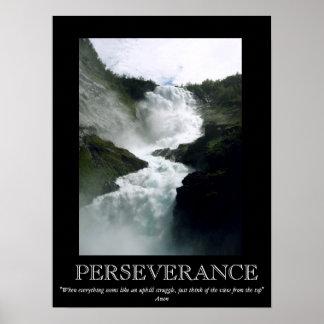 Poster de motivación de la cascada de la persevere