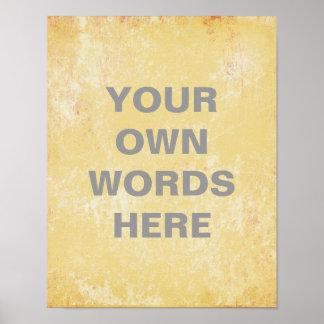 Poster de motivación de la cita, grunge amarillo póster