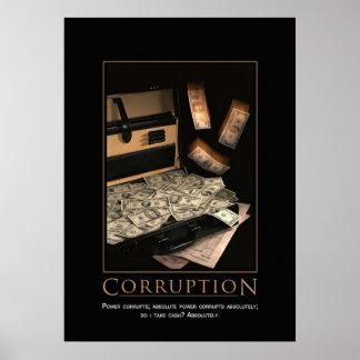 Poster de motivación de la corrupción
