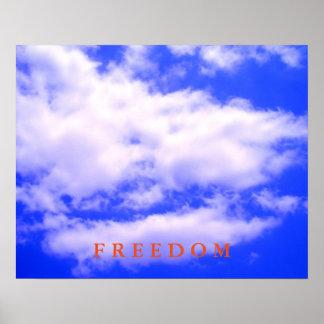 Poster de motivación de la libertad del cielo azul