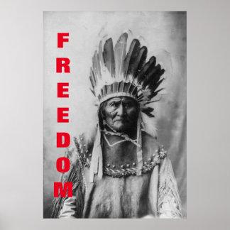 Poster de motivación de la libertad negra y blanca póster