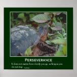 Poster de motivación de la tortuga de la persevere