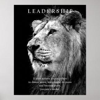 Poster de motivación de moda del león de la