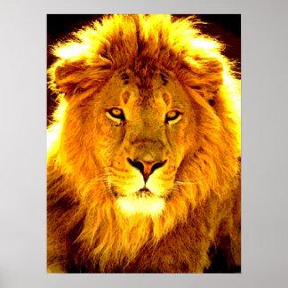 Poster de motivación del arte pop del león de la