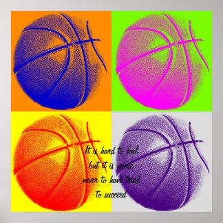 Poster de motivación del baloncesto de la cita de