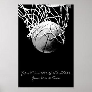 Poster de motivación del baloncesto de la cita del póster