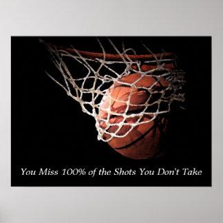 Poster de motivación del baloncesto de la cita póster