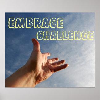 Poster de motivación del desafío del abrazo
