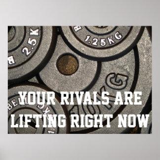 Poster de motivación del levantamiento de pesas