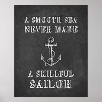 Poster de motivación del marinero de la cita de la