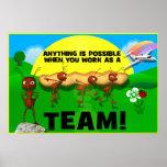 Poster de motivación del trabajo en equipo de las