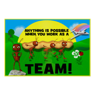 Poster de motivación del trabajo en equipo de las  póster
