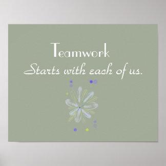 Poster de motivación del trabajo en equipo póster