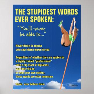 Poster de motivación: Las palabras más estúpidas