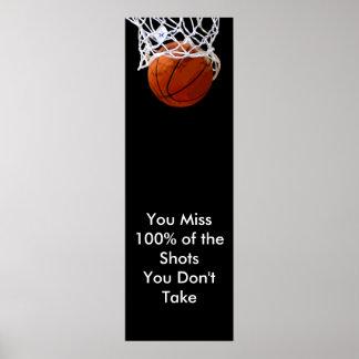 Poster de motivación panorámico del baloncesto de