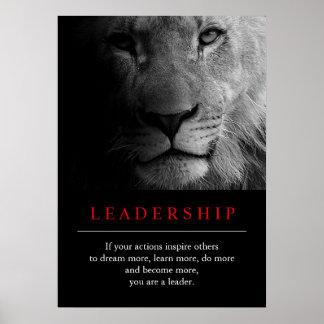 Poster de motivación único de moda del león de la