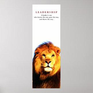 Poster de motivación único del león de la cita de