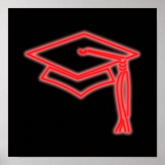 Poster de neón del rojo del casquillo del graduado