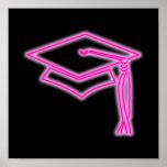 Poster de neón del rosa del casquillo del graduado