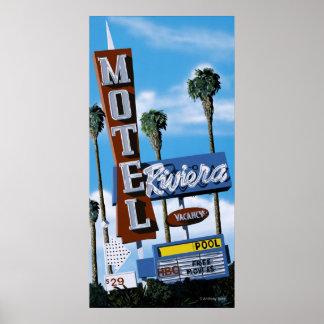 Poster de neón retro del motel del motel de Rivier