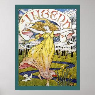 """Poster de Nouveau del arte de """"Jugend"""" de la grúa"""
