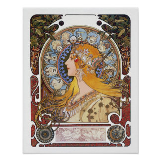 Poster de Nouveau del arte de Mucha - zodiaco -