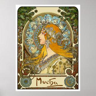 Poster de Nouveau del arte de Mucha - zodiaco - pe