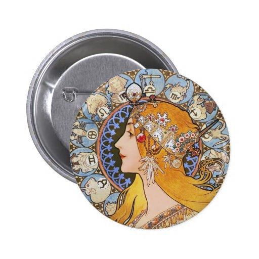 Poster de Nouveau del arte de Mucha - zodiaco - pe Pin Redondo 5 Cm