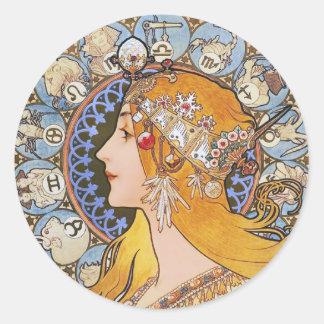 Poster de Nouveau del arte de Mucha - zodiaco - Pegatina Redonda