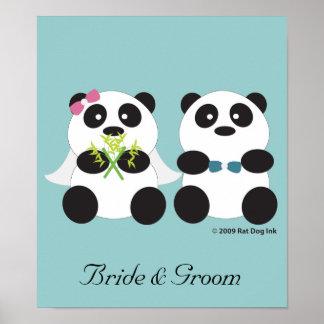 Poster de novia y del novio de la panda
