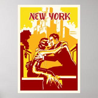 Poster de Nueva York del vintage - colores calient