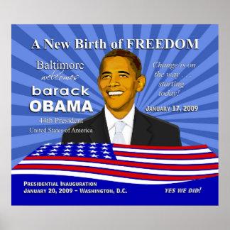 Poster de Obama de los acontecimientos de la inaug