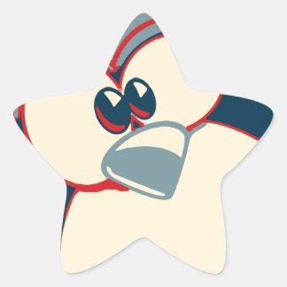 Poster de Obama del pingüino de Linux Tux Pegatina En Forma De Estrella