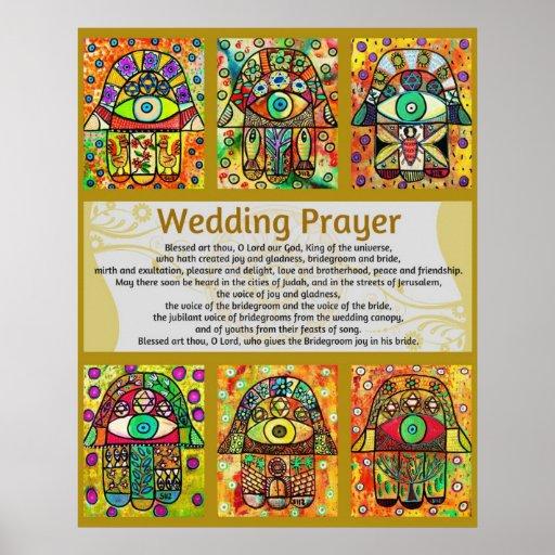 Poster de oro de Hamsa del rezo del boda judío