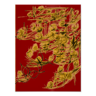 Poster de oro de los pájaros