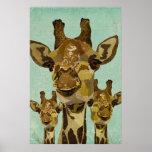Poster de oro del arte de las jirafas del damasco