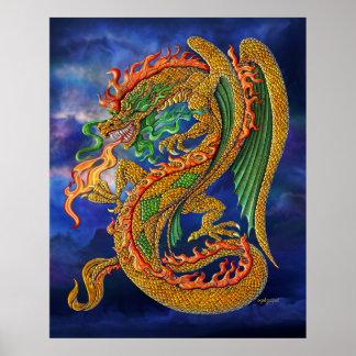 Poster de oro del dragón