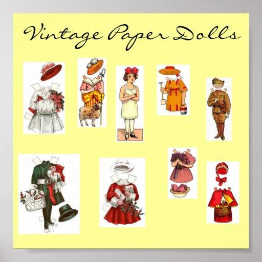 Poster de papel de la muñeca del vintage