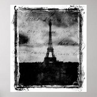 Poster de París del borde del Grunge