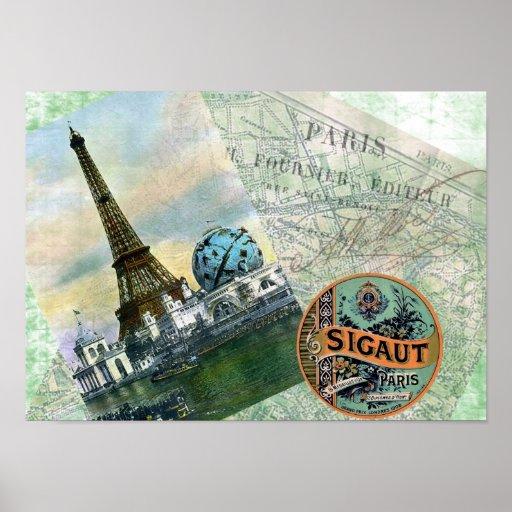 Poster de París del viaje del vintage