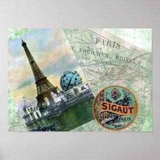 Poster de París del viaje del vintage Póster