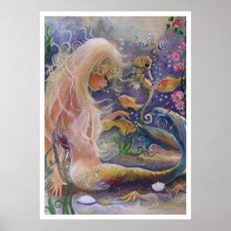 Poster de pelo rubio de la sirena