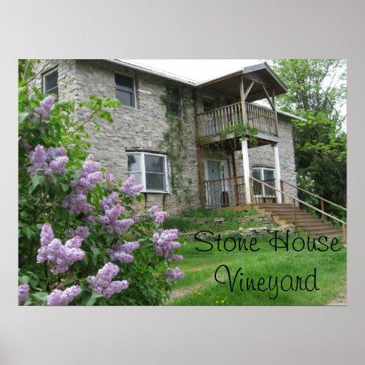 Poster de piedra del viñedo de la casa
