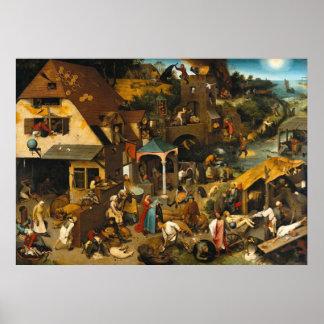 Poster de Pieter Bruegel de los proverbios de Neth