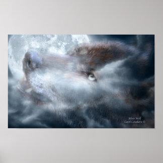 Poster de plata del arte del lobo