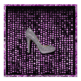 Poster de plata púrpura del zapato del tacón alto